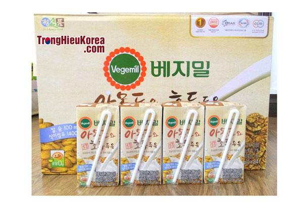 Sữa óc chó hạnh nhân Vegemil Hàn Quốc - 24 hộp 190ml