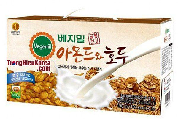 Sữa óc chó hạnh nhân Vegemil Hàn Quốc hộp 20 gói