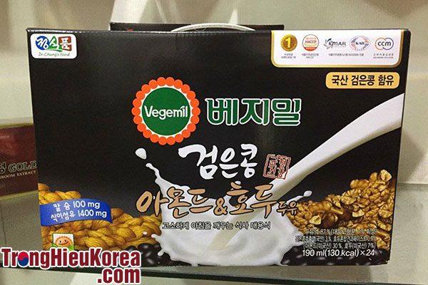 Sữa óc chó hạnh nhân đỗ đen Vegemil Hàn Quốc - 24 hộp 190ml