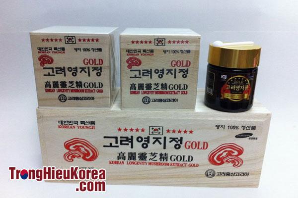 Cao Linh Chi đỏ hộp gỗ trắng Hàn Quốc 120g x3
